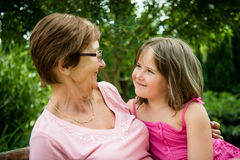 Together - grandmother with granddaughter Stock Images