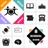 Together computer symbol. Together Icon and Set Perfect Back to School pictogram. Contains such Icons as Schoolbook, School  Building, School Bus, Textbooks Royalty Free Stock Photo