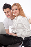 Together with a laptop Royalty Free Stock Image