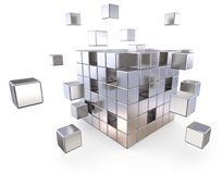 Together. Metal Cube with some loose Cubes. Depth of field. 3D render Stock Photo