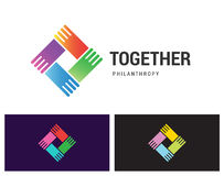 Together Philantropy. Together Philanthropy is a vector logotype template for social care, networking or media business company. Shake hands unity icon idea Royalty Free Stock Image