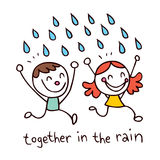 Together in the rain. Illustration Stock Images