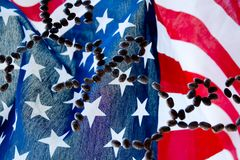 Together we stand. American flag with stick people Stock Photo
