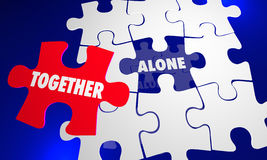 Together Vs Alone Puzzle Piece Working With Each Other Stock Photo