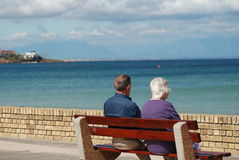 Together years. Elderly couple reflect the years, Cape Town Stock Photo