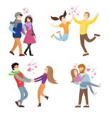 Togetherness Concept Set of Young Man and Woman. Spending time at Valentines Day together vector illustration isolated on white background, merry lovers Stock Images