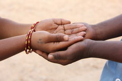 Togetherness. Indian Children's, India, Poor Hands Stock Image