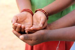 Togetherness. Indian Children's, India, Poor Hands Royalty Free Stock Images