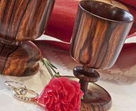 Togetherness--Rings & Goblets Royalty Free Stock Photos