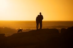 Togetherness sunset Royalty Free Stock Images