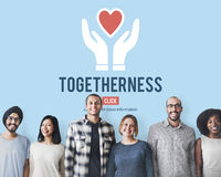 Togetherness Unity Design Icon Heart Concept. People Togetherness Unity Design Information Royalty Free Stock Photography