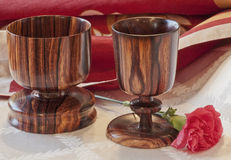 Togetherness--Wooden Goblets Stock Image