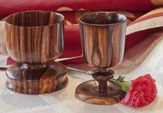Togetherness--Wooden Goblets Stock Image