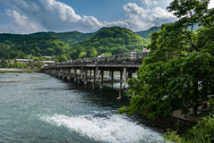 Togetsu-kyo Bridge in Arashiyama district Royalty Free Stock Images