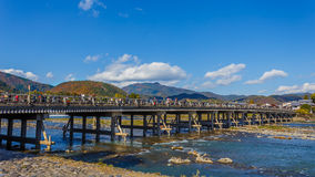 Togetsu-kyo Bridge at Arashiyama in Kyoto Stock Images