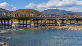 Togetsu-kyo Bridge at Arashiyama in Kyoto Royalty Free Stock Photography