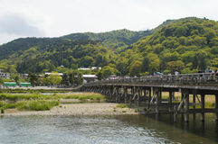 Togetsu-kyo Bridge at Arashiyama in Kyoto Royalty Free Stock Images