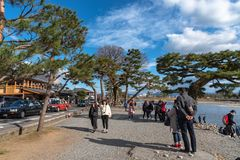 Togetsu-kyo bridge over katsuragawa river with colourful forest mountain background in Arashiyama district. stock image
