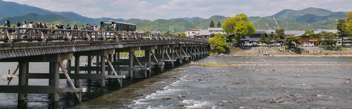 Togetsu-kyo, the Moon Crossing Bridge in Arashiyama. Togetsu-kyo, known as the Moon Crossing Bridge is a 155-meter bridge over the Katsura River in Saga Royalty Free Stock Image