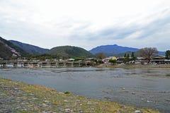 Togetsukyo-Brücken-Überfahrt-Mond-Brücke stockbild