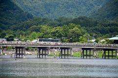 Togetsukyo Bridge across the Oi River in Arashiyama Royalty Free Stock Photography