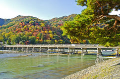 Togetsukyo bridge in Arashiyama, Japan. Royalty Free Stock Images