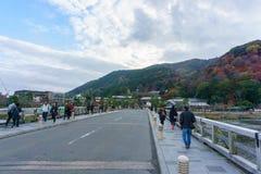 Togetsukyo Bridge in Arashiyama. Kyoto, Japan - December 3, 2015: Togetsukyo Bridge in Arashiyama Stock Images