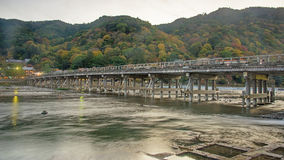 Togetsukyo Bridge and Katsura River before sunset Stock Photography