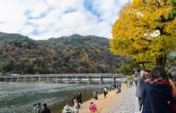 Togetsukyou Bridge during autumn season in Arashiyama, Kyoto,  J. Togetsukyo bridge over Katsura river during autumn season in Arashiyama, Kyoto, Japan. Photo Royalty Free Stock Photos