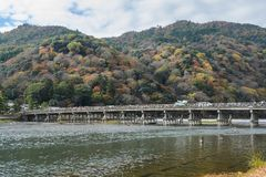 Togetsukyou Bridge during autumn season in Arashiyama, Kyoto,  Japan stock photography