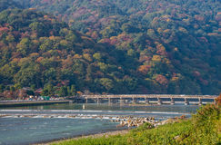 Togetsukyo bridge and Hozu river in autumn season at Arashiyama. Stock Images