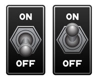 Toggle switch. In the on and off position Royalty Free Stock Image
