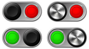 Toggle switches with green and red lights Royalty Free Stock Photo
