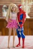 Togheter di Barbie e dello Spiderman Fotografia Stock Libera da Diritti