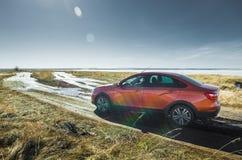 Presentation of the new LADA Vesta cross sedan. royalty free stock photo