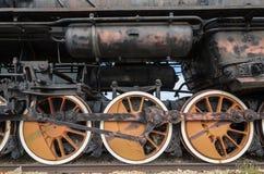 Togliatti, Russland, Rad von einer Dampfmaschinenlokomotive stockfotografie