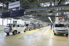 Cars on assembly line at Avtovaz factory Royalty Free Stock Photo