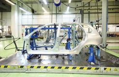 Equipment for accurate measurement of car bodies. TOGLIATTI - SEPTEMBER 30: Equipment for accurate measurement of car bodies at Avtovaz factory on September 30 stock photos