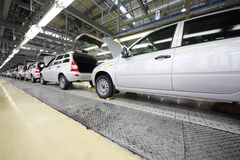 Lada Kalina cars on line on factory VAZ Stock Photography