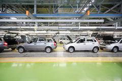 Lada Kalina cars on lines on factory VAZ Royalty Free Stock Images