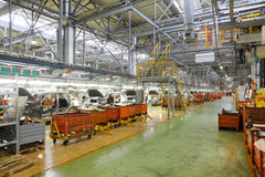 Large light workshop for passenger car assembly Stock Image