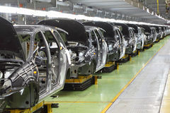 Row of new bodies for Lada Kalina at Avtovaz factory Stock Images