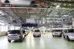 Workshop with new Lada Kalina cars Stock Photography