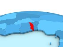Togo on blue globe Stock Image