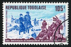 Washington. TOGO - CIRCA 1977: stamp printed by Togo, shows Lafayette and Washington at Valley Forge, circa 1977 Stock Photos