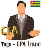 Togo currency symbol CFA Franc representing money and Flag. Royalty Free Stock Image