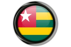 Togo flag in the button pin Isolated on White Background Stock Image