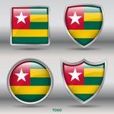 Togo Flag dans la collection de 4 formes avec le chemin de coupure Photographie stock