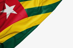 Togo flag of fabric with copyspace for your text on white background. Africa african banner best capital colorful competition country ensign free freedom glory stock illustration