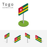 Togo flag, vector set of 3D isometric flat icons. Togo flag Togolese Republic, vector set of isometric flat icons, 3D style. African country flags. Editable Stock Image